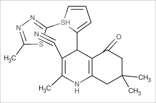 2,7,7-Trimethyl-4-(5-((5-methyl-1,3,4-thiadiazol-2-yl)thio)furan-2-yl)-5-oxo-1,4,5,6,7,8-hexahydroquinoline-3-carbonitrile