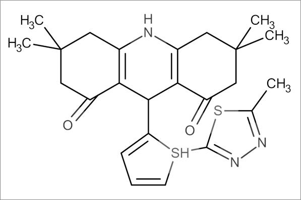 3,3,6,6-Tetramethyl-9-(5-((5-methyl-1,3,4-thiadiazol-2-yl)thio)furan-2-yl)-3,4,6,7,9,10-hexahydroacridine-1,8(2H,5H)-dione