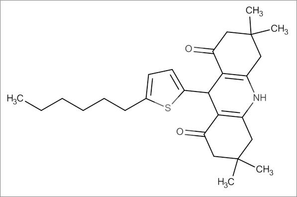 9-(5-Hexylthiophen-2-yl)-3,3,6,6-tetramethyl-3,4,6,7,9,10-hexahydroacridine-1,8(2H,5H)-dione
